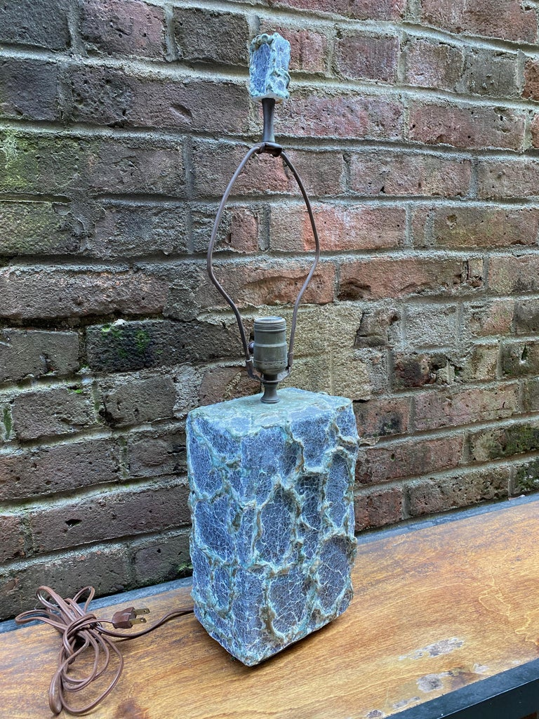 Tactile chalk/plaster body table lamp with finial. Amazing surface, circa 1960. Possibly French origin. Gray body with white