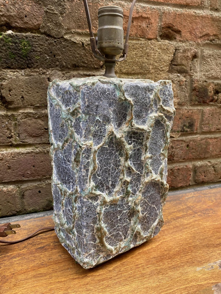 French Early Volcanic Brutalist Plaster Lamp For Sale