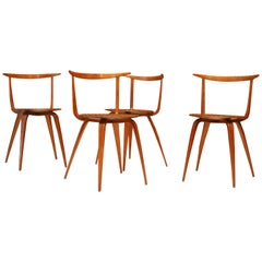 Early Walnut Pretzel Side Chairs by George Nelson for Herman Miller