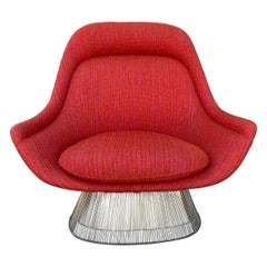 Early Warren Platner Large Wire Lounge Chair for Knoll , C.1970 Cado Wool Woven