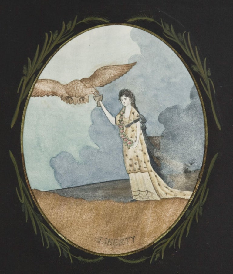 The American Eagle Drinks From The Goblet Of Life, In The Hand Of Lady Liberty: Early Watercolor On Paper In A Spectacular, Three-dimensional, Puzzle-work, Tramp Art Frame