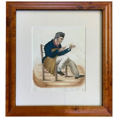 Early Watercolor View of a Sailor with Pet Bird