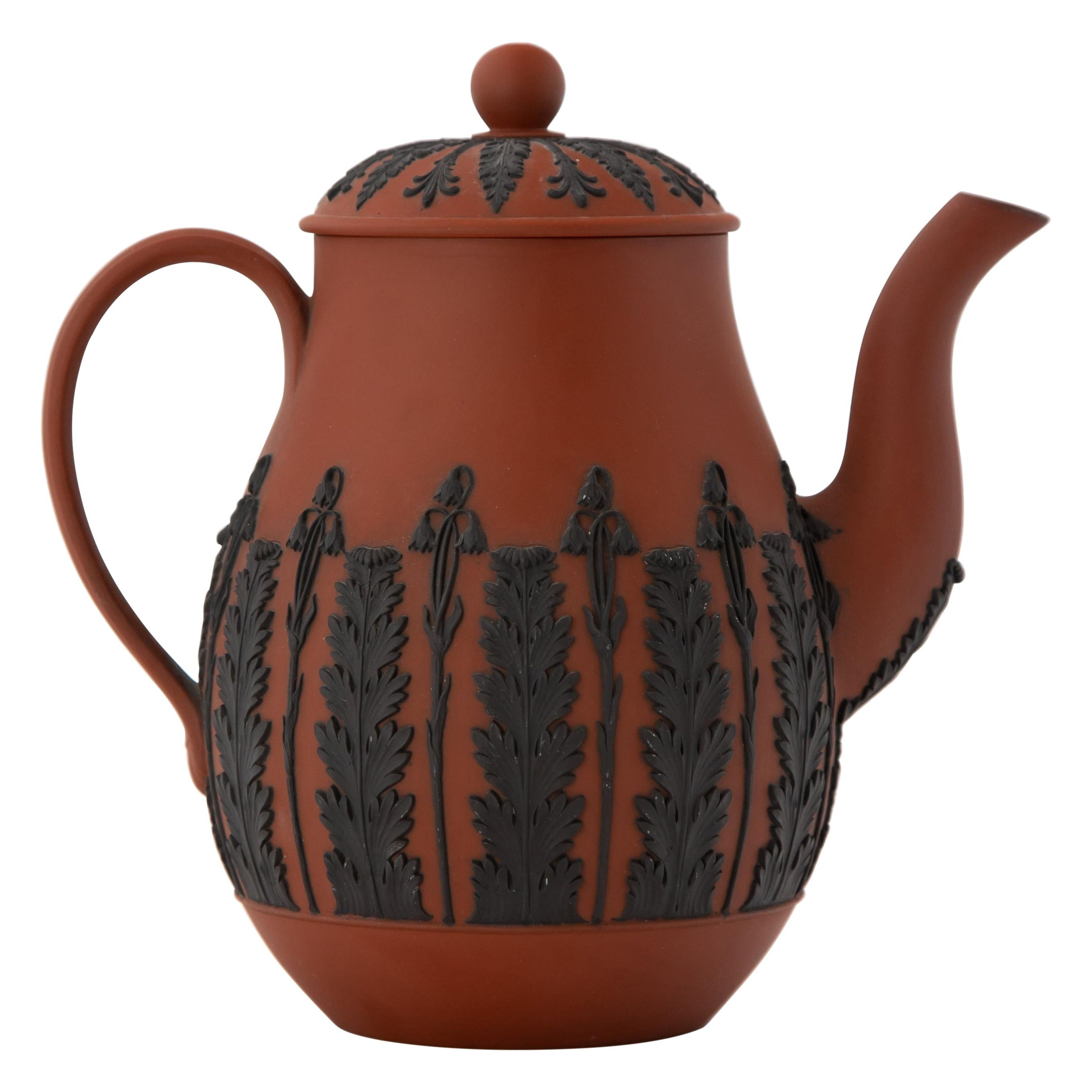 Early Wedgwood Egyptian Revival Neoclassical Rosso Antico Coffee Pot