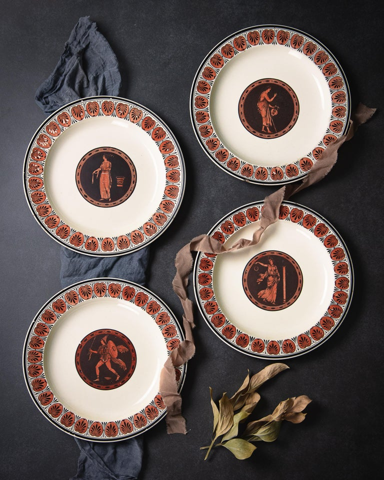 A set of four early Wedgwood creamware Neoclassical dessert dishes made circa 1780.  Sir William Hamilton's Collection of Etruscan, Greek and Roman antiquities, published in 1766 by Pierre d'Hancarville, was a landmark publication in English