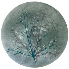 Early Wells Street Studio Abstract Fused Glass Plate by Higgins, 1950s