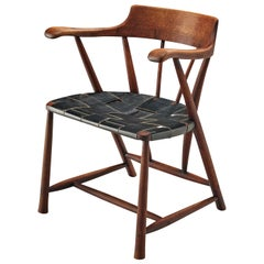 Early Wharton Esherick 'Captain's Chair' in American Walnut and Black Leather