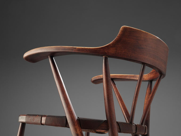 Early Wharton Esherick 'Captain's Chair' in American Walnut and Brown Leather For Sale 5