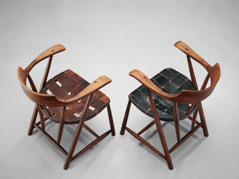 Early Wharton Esherick 'Captain's Chair' in American Walnut and Brown Leather For Sale 7