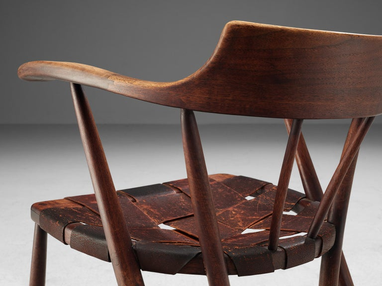 Mid-Century Modern Early Wharton Esherick 'Captain's Chair' in American Walnut and Brown Leather For Sale