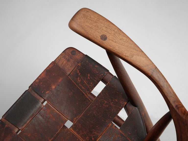 Mid-20th Century Early Wharton Esherick 'Captain's Chair' in American Walnut and Brown Leather For Sale