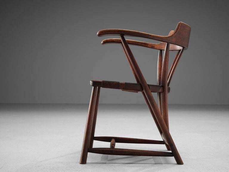 Early Wharton Esherick 'Captain's Chair' in American Walnut and Brown Leather For Sale 1