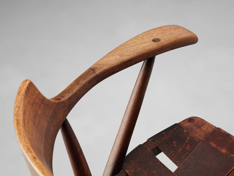Early Wharton Esherick 'Captain's Chair' in American Walnut and Brown Leather For Sale 2