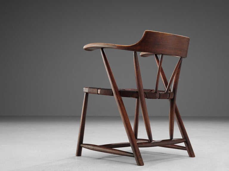 Early Wharton Esherick 'Captain's Chair' in American Walnut and Brown Leather For Sale 3