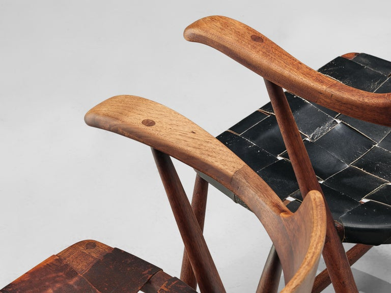 Early Wharton Esherick 'Captain's Chair' in American Walnut and Brown Leather For Sale 4