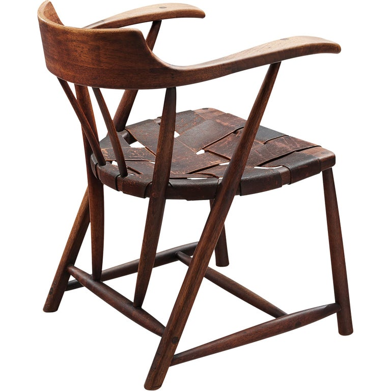 Early Wharton Esherick 'Captain's Chair' in American Walnut and Brown Leather For Sale