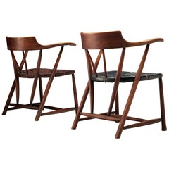 Early Wharton Esherick 'Captain's Chairs' in American Walnut and Leather