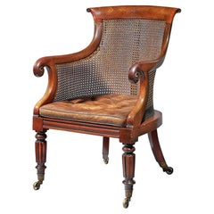 Early William IV Mahogany Bergère Armchair of Large Scale with Original Leather