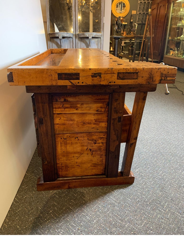 Early 20th Century Workbench with Three Drawers For Sale 4