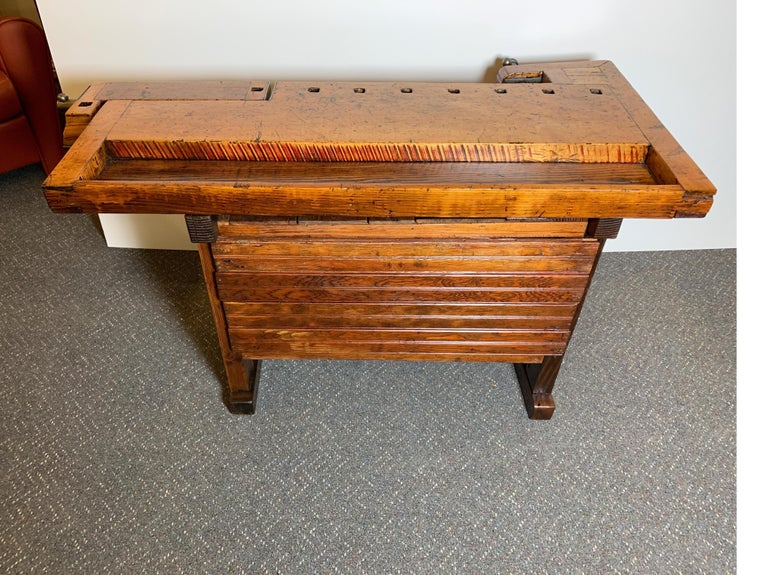 Early 20th Century Workbench with Three Drawers For Sale 5