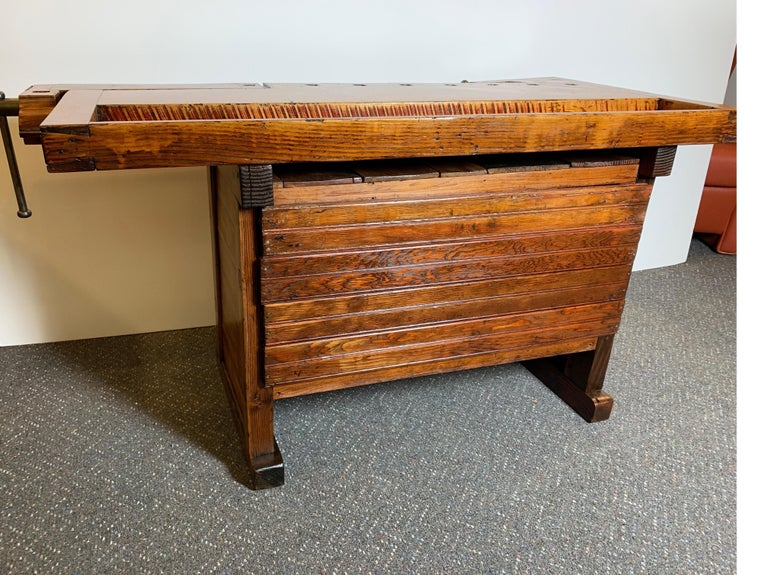 Early 20th Century Workbench with Three Drawers For Sale 6