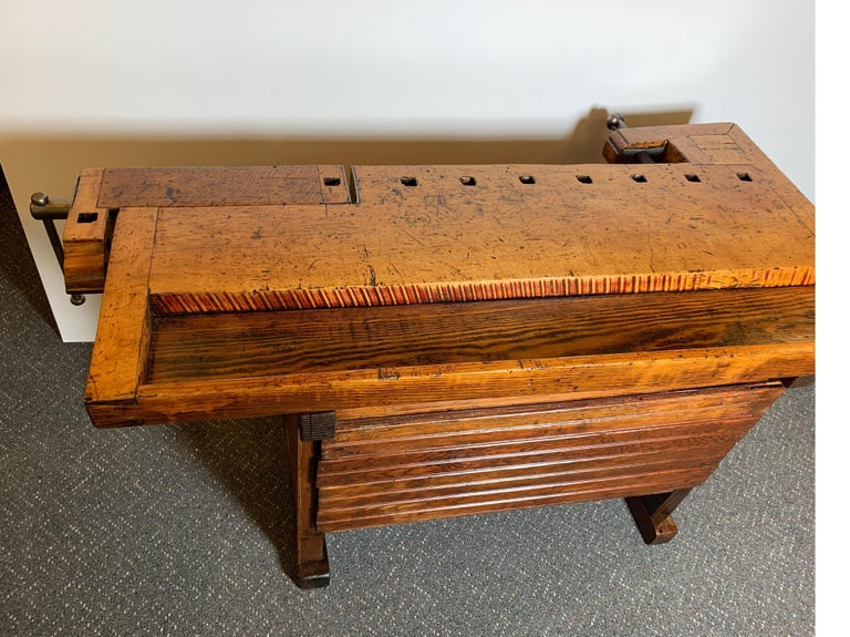 Early 20th Century Workbench with Three Drawers For Sale 7