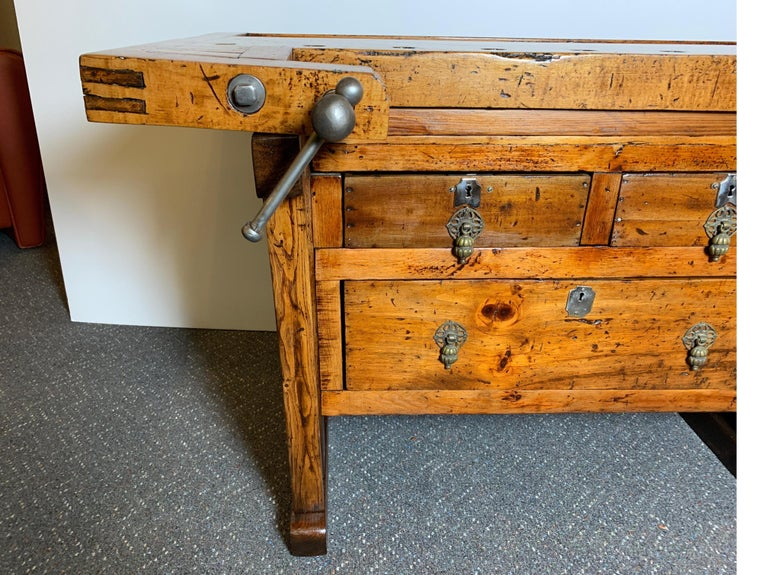 Industrial Early 20th Century Workbench with Three Drawers For Sale