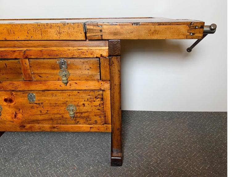 American Early 20th Century Workbench with Three Drawers For Sale