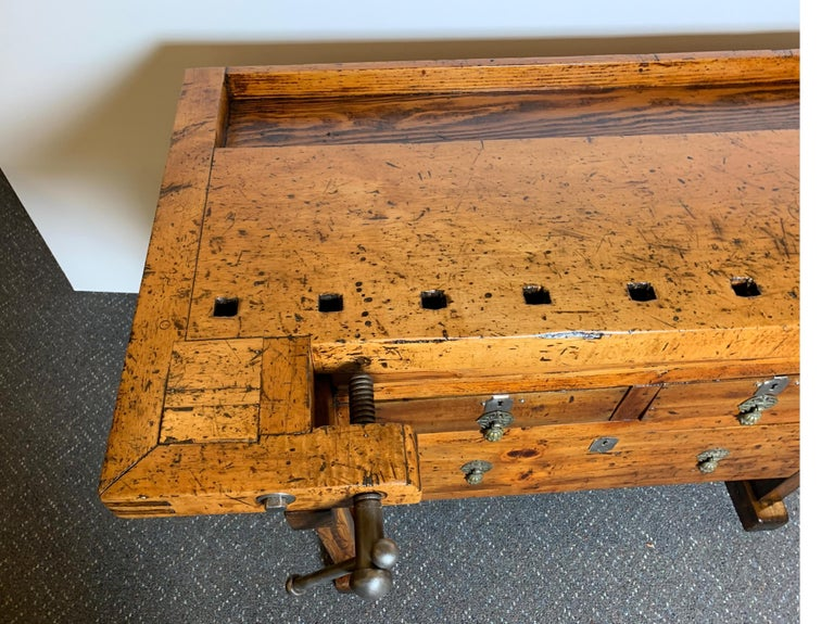 Mid-20th Century Early 20th Century Workbench with Three Drawers For Sale