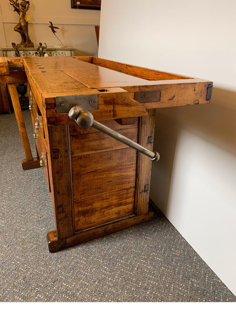 Early 20th Century Workbench with Three Drawers For Sale 1