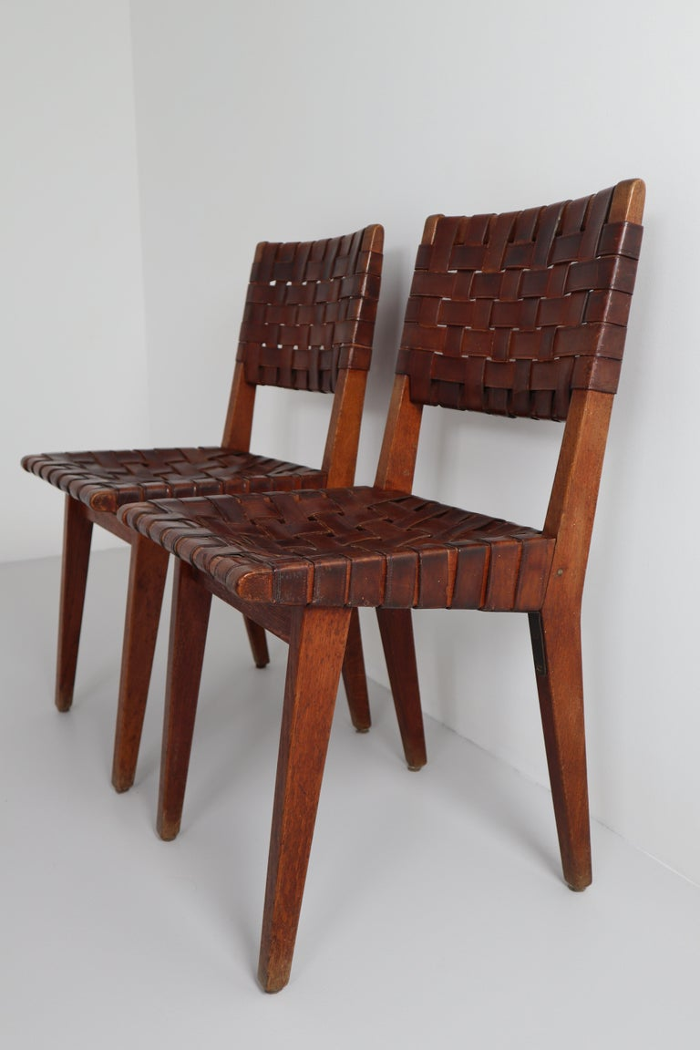 Early Woven Leather Side Chairs Model No. 666 by Jens Risom for Knoll, 1940s For Sale 3
