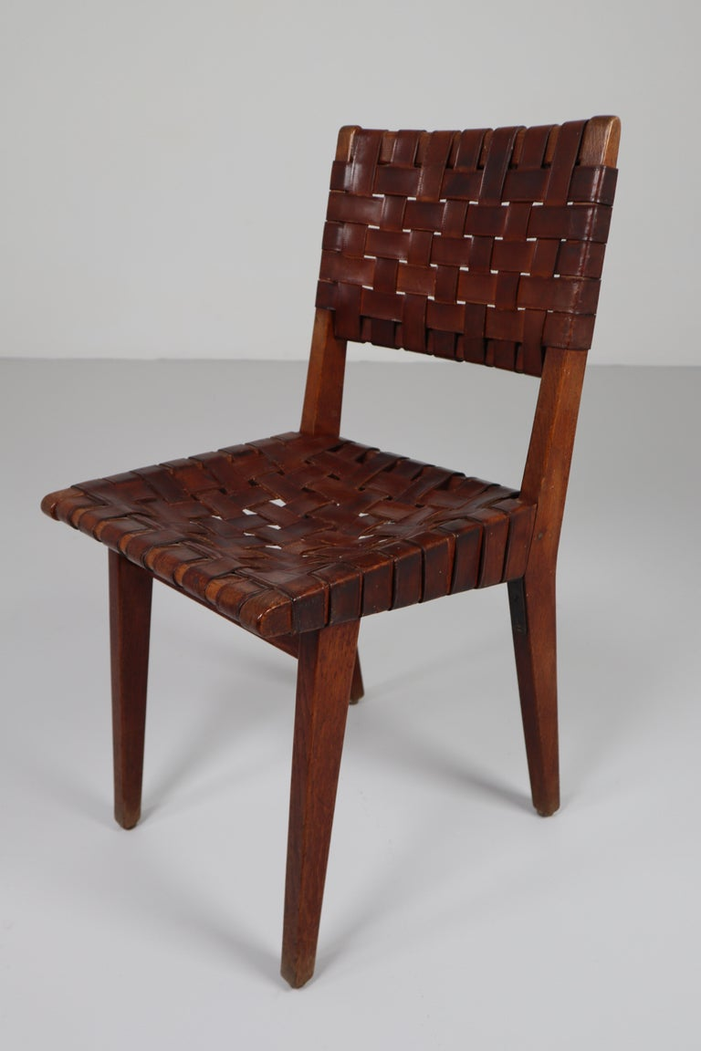 Early Woven Leather Side Chairs Model No. 666 by Jens Risom for Knoll, 1940s For Sale 4
