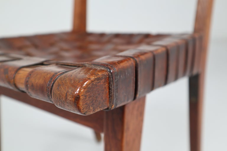 Early Woven Leather Side Chairs Model No. 666 by Jens Risom for Knoll, 1940s For Sale 5