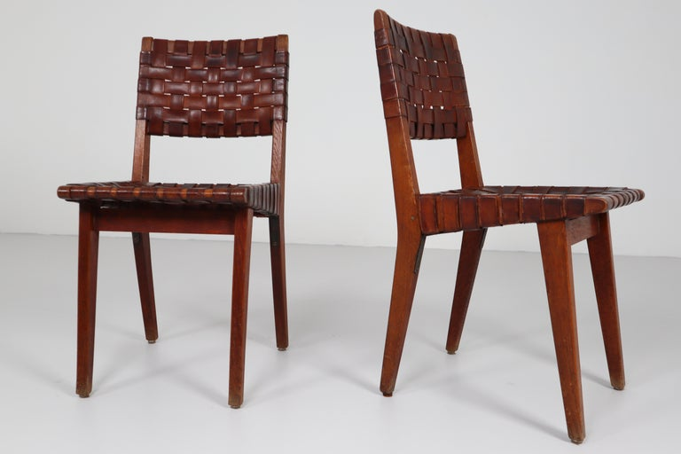 Early Woven Leather Side Chairs Model No. 666 by Jens Risom for Knoll, 1940s For Sale 6