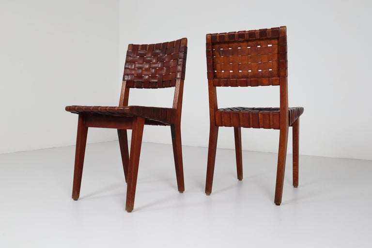 Early Woven Leather Side Chairs Model No. 666 by Jens Risom for Knoll, 1940s For Sale 7