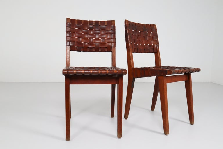 Early Woven Leather Side Chairs Model No. 666 by Jens Risom for Knoll, 1940s For Sale 9