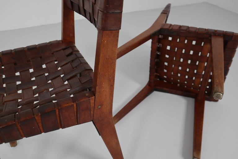 Early Woven Leather Side Chairs Model No. 666 by Jens Risom for Knoll, 1940s For Sale 10
