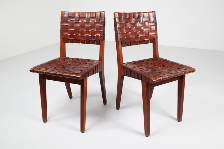 Early Woven Leather Side Chairs Model No. 666 by Jens Risom for Knoll, 1940s For Sale 11