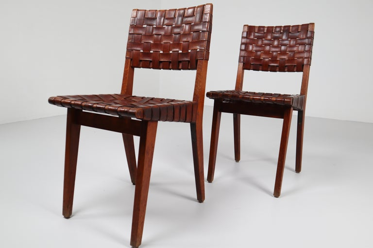 Early Woven Leather Side Chairs Model No. 666 by Jens Risom for Knoll, 1940s For Sale 13
