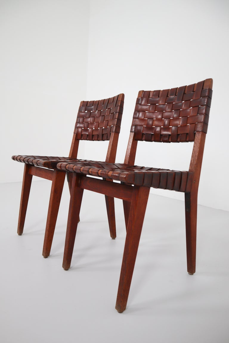 Mid-Century Modern Early Woven Leather Side Chairs Model No. 666 by Jens Risom for Knoll, 1940s For Sale