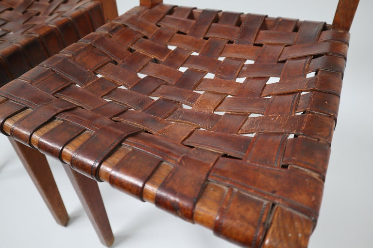 Early Woven Leather Side Chairs Model No. 666 by Jens Risom for Knoll, 1940s In Good Condition For Sale In Almelo, NL