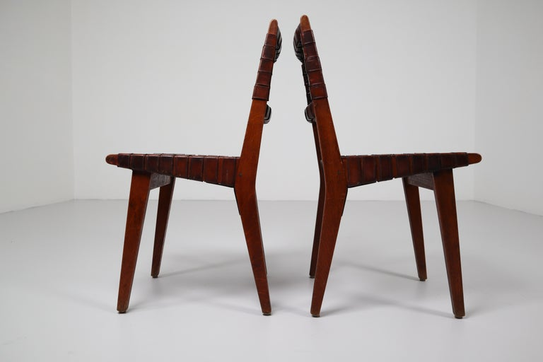 Mid-20th Century Early Woven Leather Side Chairs Model No. 666 by Jens Risom for Knoll, 1940s For Sale