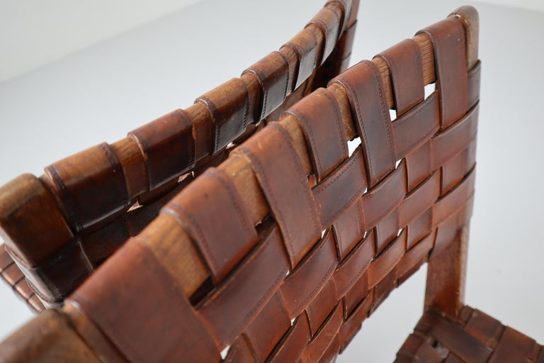Oak Early Woven Leather Side Chairs Model No. 666 by Jens Risom for Knoll, 1940s For Sale