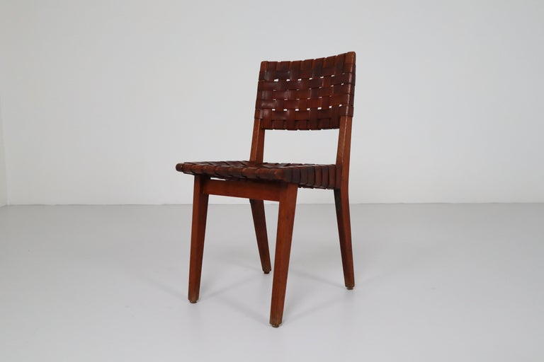 Early Woven Leather Side Chairs Model No. 666 by Jens Risom for Knoll, 1940s For Sale 1