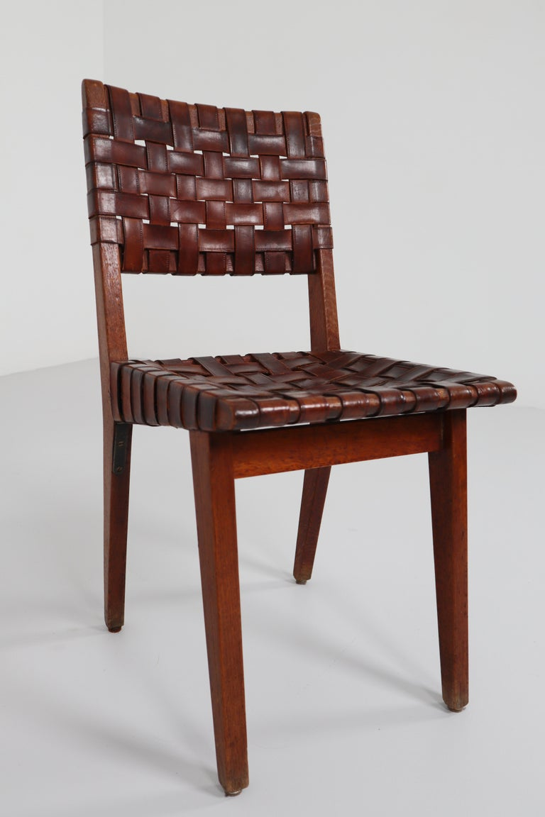 Early Woven Leather Side Chairs Model No. 666 by Jens Risom for Knoll, 1940s For Sale 2