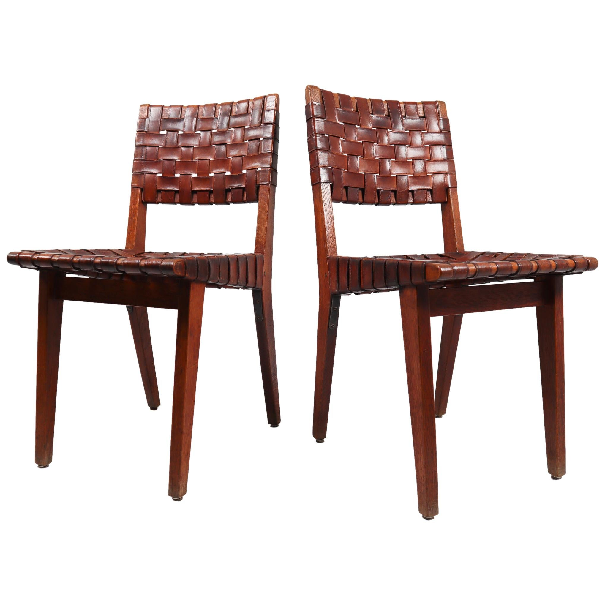 Early Woven Leather Side Chairs Model No. 666 by Jens Risom for Knoll, 1940s