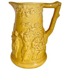 Early Yellow Majolica Pitcher Sarreguemines, circa 1870