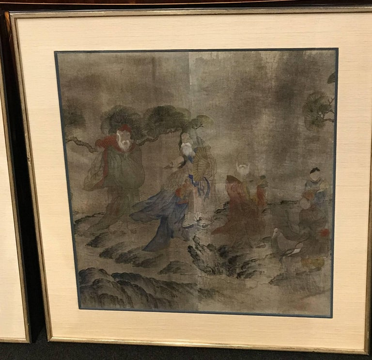 Hand-Painted Early Yi Dynasty Korean Painted Triptych on Silk with Folklore Figures For Sale