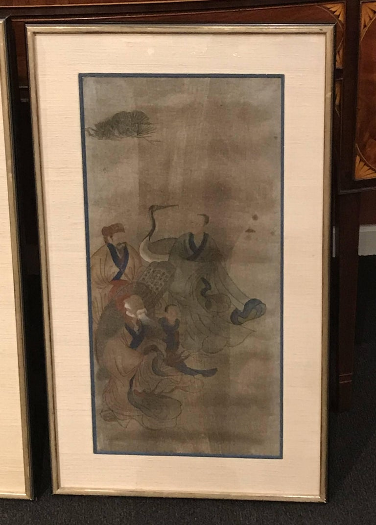 Early Yi Dynasty Korean Painted Triptych on Silk with Folklore Figures In Good Condition For Sale In Milford, NH