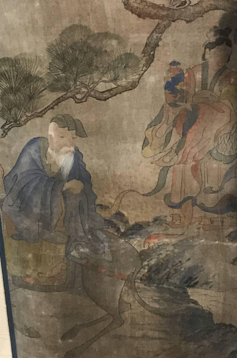 19th Century Early Yi Dynasty Korean Painted Triptych on Silk with Folklore Figures For Sale