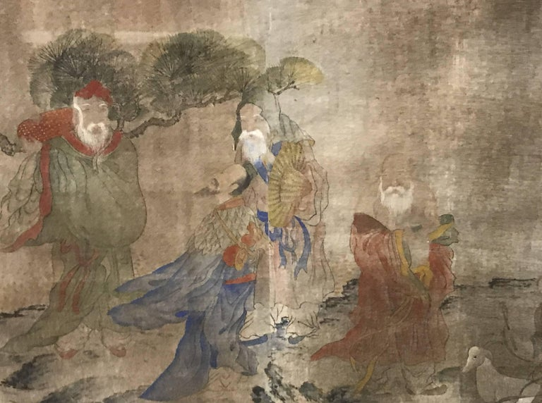 Early Yi Dynasty Korean Painted Triptych on Silk with Folklore Figures For Sale 1